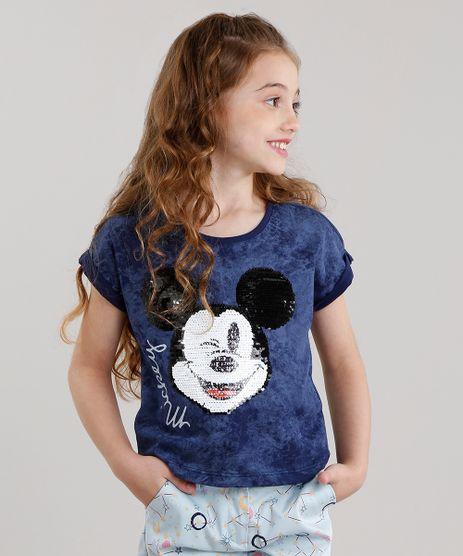 Blusa-Infantil-Mickey-com-Bordado-Paete-Dupla-Face-Manga-Curta-Decote-Redondo-Azul-Marinho-9114158-Azul_Marinho_1