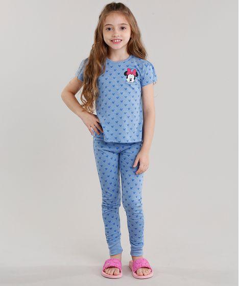 cc5c2b442 Pijama-Infantil-Estampado-Minnie-Manga-Curta-Azul-9045377- ...