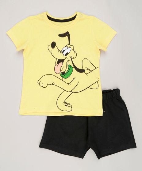 Conjunto-Infantil-Pluto-de-Camiseta-Manga-Curta-Amarela---Bermuda-em-Moletom-de-Algodao---Sustentavel-Preta-9029241-Preto_1