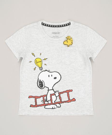 Camiseta-Infantil-Interativa-Snoopy-com-Bolso-Manga-Curta-Gola-Redonda-Cinza-Mescla-Claro-9048282-Cinza_Mescla_Claro_1