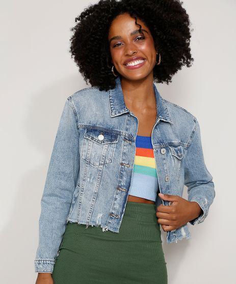 Jaqueta-Jeans-Feminina-Cropped-Destroyed-com-Bolsos-Azul-Medio-9981720-Azul_Medio_1