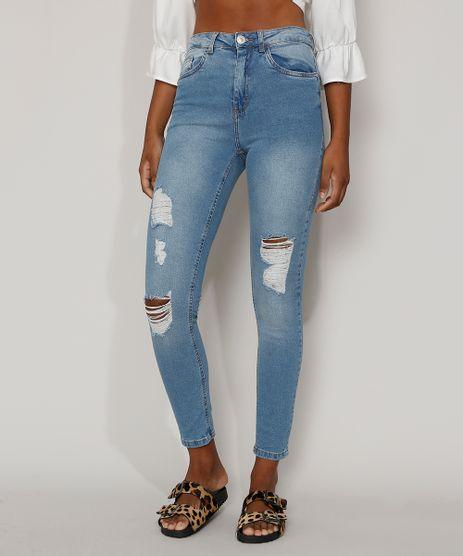 Calca-Jeans-Feminina-Super-Skinny-Cintura-Alta-Destroyed-Azul-Claro-9977338-Azul_Claro_1