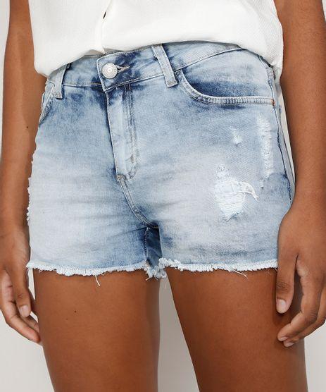 Short-Jeans-Feminino-Reto-Cintura-Media-Destroyed-Marmorizado-Azul-Claro-9977075-Azul_Claro_1