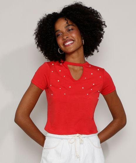 Camiseta-Feminina-Basica-Choker-com-Perolas-Manga-Curta-Vermelha-9973887-Vermelho_1