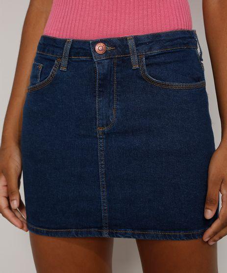 Saia-Jeans-Feminina-Curta-com-Bolsos-Azul-Escuro-9975909-Azul_Escuro_1