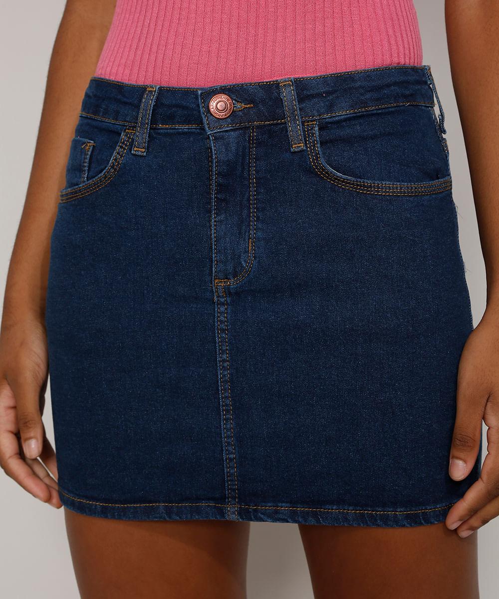 Saia Jeans Feminina Curta com Bolsos Azul Escuro