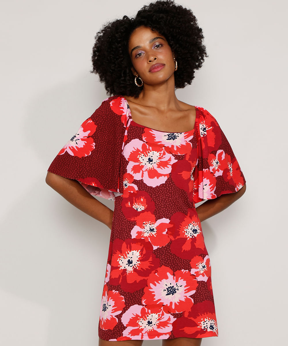 Vestido Feminino Curto Estampado Floral Manga Curta Ampla Vinho
