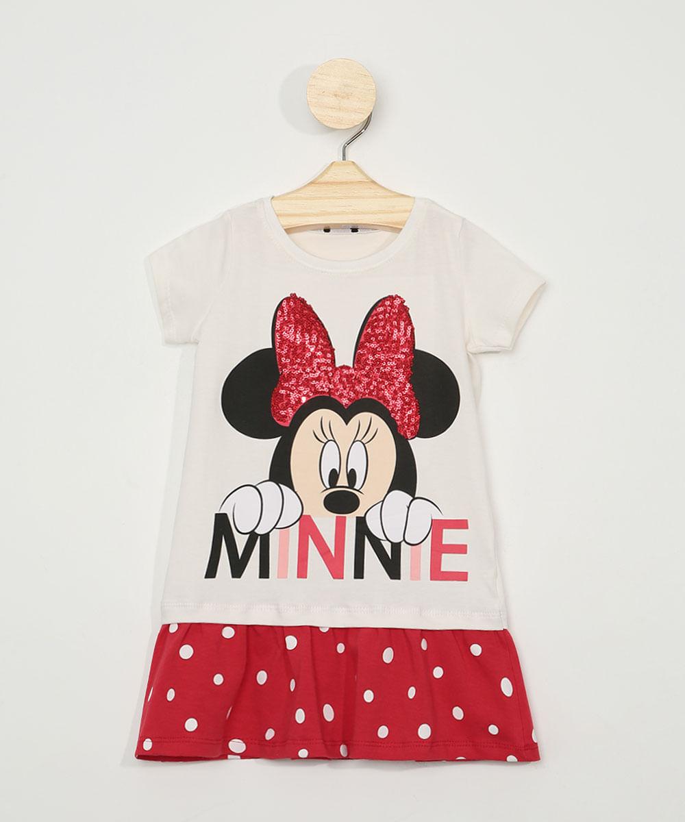 Vestido Infantil Minnie com Paetês Manga Curta Off White