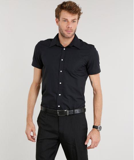 064e99670 Camisa-Masculina-Comfort-Manga-Curta-Preta-7602628-Preto 1 ...