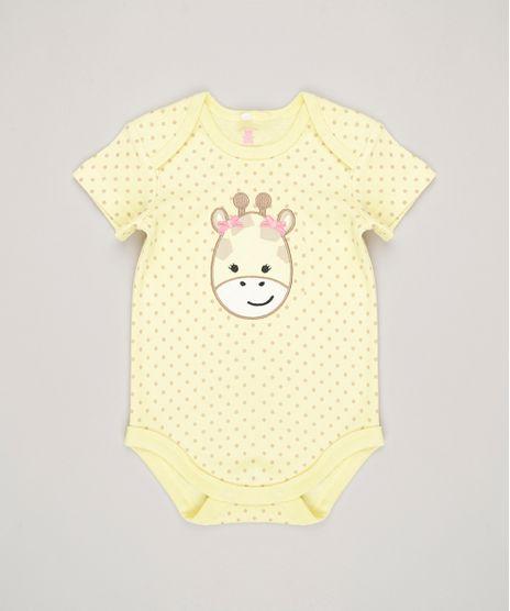 Body-Infantil-Estampado--Girafa--Manga-Curta-Decote-Redondo-em-Algodao---Sustentavel-Amarelo-8812210-Amarelo_1