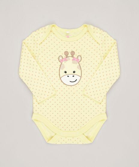 Body-Infantil-Estampado--Girafa--Manga-Longa-Decote-Redondo-em-Algodao---Sustentavel-Amarelo-8812217-Amarelo_1
