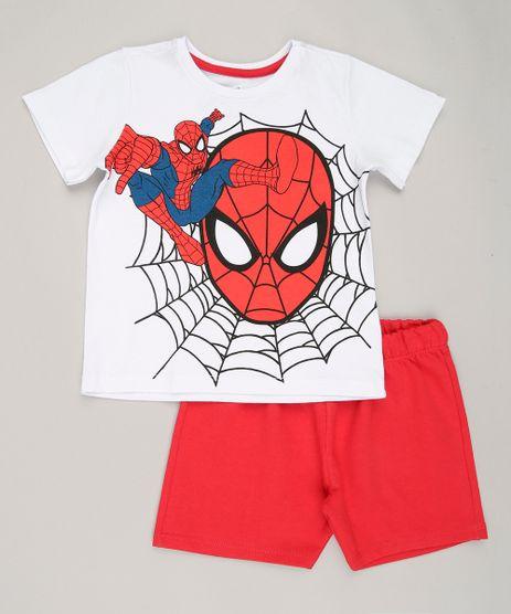 Conjunto-Infantil-Homem-Aranha-de-Camiseta-Branca---Bermuda-em-Moletom-Vermelha-8749753-Vermelho_1