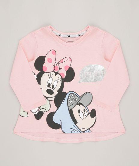 Blusa-Infantil-Minnie-e-Mickey-Manga-Longa-Decote-Redondo-em-Algodao---Sustentavel-Rosa-9135163-Rosa_1