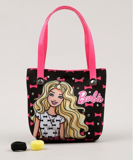 Bolsa-Infantil-Barbie-Estampada---Elasticos-de-Cabelo-Preta-9060669-Preto_1