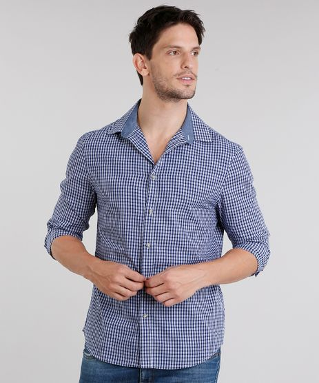 Camisa-Masculina-Slim-Xadrez-Manga-Longa-Azul-Marinho-8852661-Azul_Marinho_1