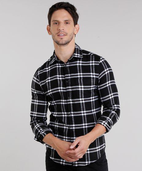 Camisa-Masculina-Slim-Xadrez-em-Flanela-Manga-Longa-Preta-8856149-Preto_1