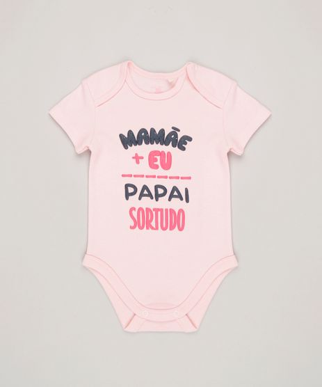 Body-Infantil--Mamae-Eu-Papai-Sortudo--Manga-Curta-Decote-Redondo-em-Algodao---Sustentavel-Rosa-Claro-8897314-Rosa_Claro_1