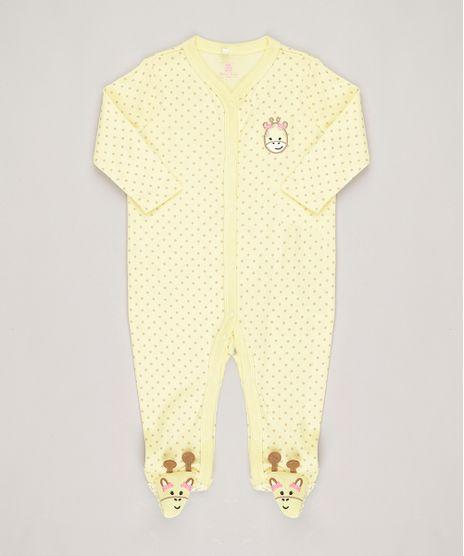 Macacao-Infantil-Estampado--Girafa--Manga-Longa-em-Algodao---Sustentavel-Amarelo-8812224-Amarelo_1