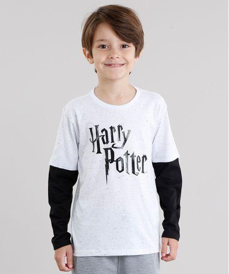 001bb7dcf Camiseta Infantil Harry Potter Botonê Manga Longa Gola Redonda ...