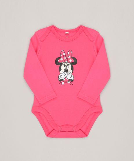 Body-Infantil-Minnie-Manga-Longa-Decote-Redondo-em-Algodao---Sustentavel-Rosa-Escuro-8814766-Rosa_Escuro_1