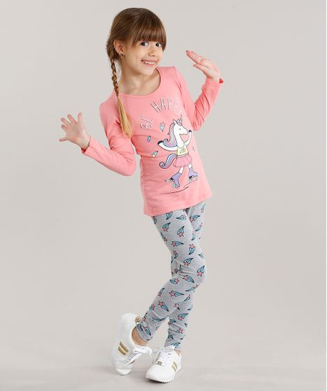 Conjunto Infantil de Blusa Unicórnio Manga Longa Rosa + Calça Legging  Estampada Cinza Mescla - cea 1319e3d098