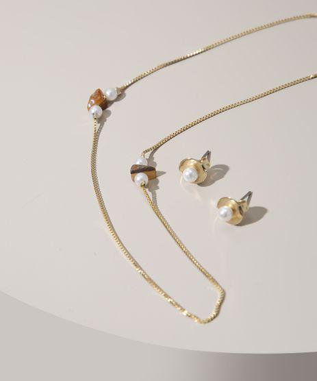 Kit-de-Colar-Feminino-Longo-com-Pedras-e-Perolas---Brinco-Dourado-9975283-Dourado_1