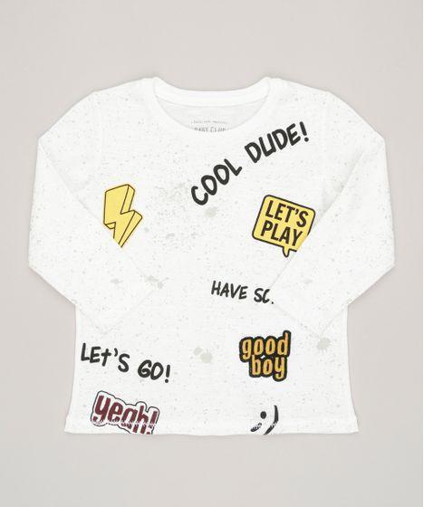 Camiseta Infantil Com Frases Manga Curta Gola Careca Off