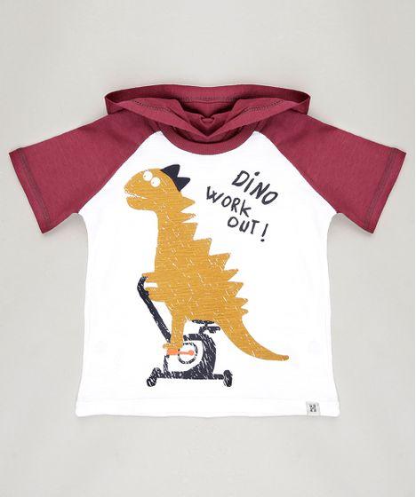 84bd8c9e8d Camiseta Infantil Raglan Dinossauro Manga Curta com Capuz Off White ...