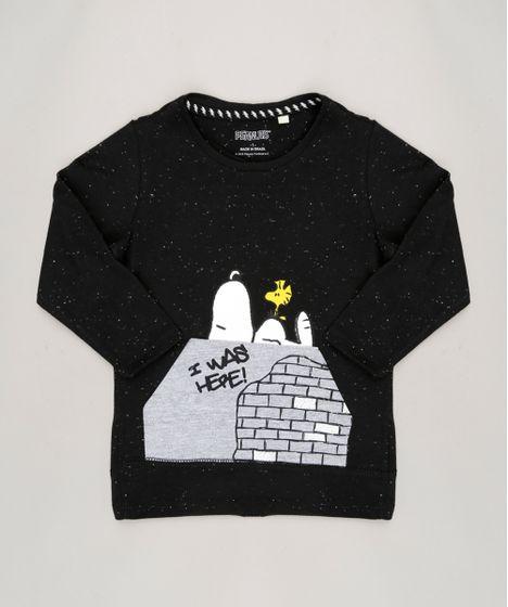 Camiseta Infantil Snoopy Manga Longa Gola Careca Preta - cea eada3f7b10