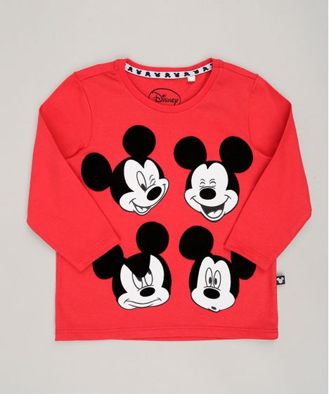 ac31de8b806a0 Camiseta Infantil Mickey Mouse Manga Longa Gola Redonda Vermelha