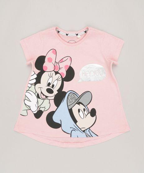Blusa-Infantil-Minnie-e-Mickey-Manga-Curta-Decote-Redondo-em-Algodao---Sustentavel-Rosa-9135174-Rosa_1