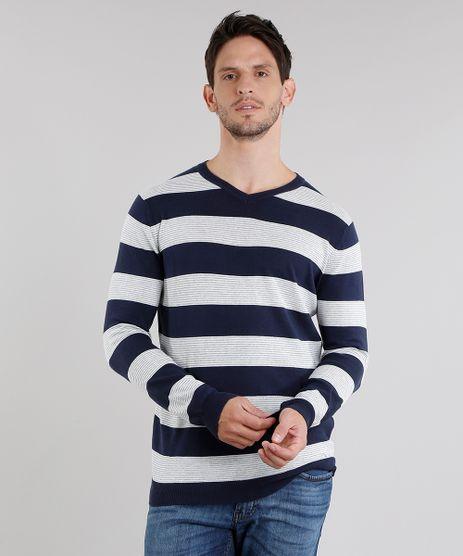 Sueter-Masculino-Listrado-em-Trico-Gola-V-Manga-Longa-Azul-Marinho-8848785-Azul_Marinho_1_1