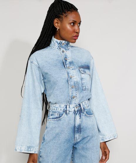 Camisa-Jeans-Feminina-Mindset-Oversized-Marmorizada-com-Bolso-Manga-Longa-Gola-Alta-Azul-Claro-9985140-Azul_Claro_1