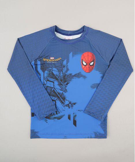Camiseta Infantil Homem Aranha com Proteção UV 50+ Azul - cea 506f975ec1