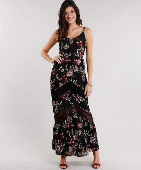 Vestido-Feminino-Longo-Estampado-Floral-com-Renda-Alca-Preto-8881355-Preto_1