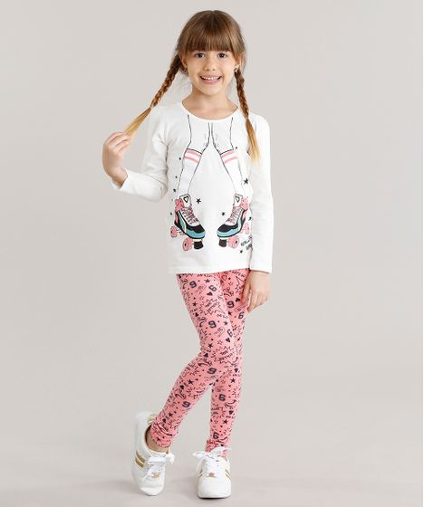 Conjunto Infantil de Blusa Patins Manga Longa Off White + Calça Legging  Estampada Rosa - cea 8cf9318e91