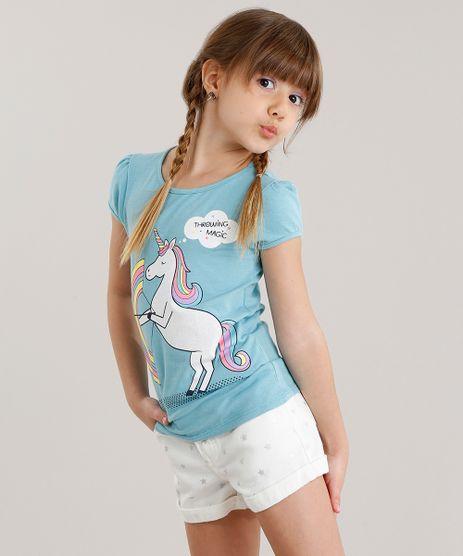 Blusa-Infantil--Unicornio--Manga-Curta-Decote-Redondo-em-Algodao---Sustentavel-Azul-Claro-9107641-Azul_Claro_1