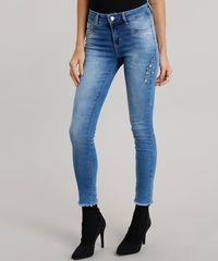 fc50983f78 Calça Jeans Feminina Super Skinny Sawary com Brilho Azul Médio ...