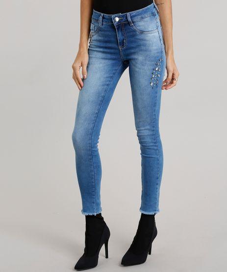 Calca-Jeans-Feminina-Super-Skinny-Sawary-com-Brilho-Azul-Medio-9106145-Azul_Medio_1