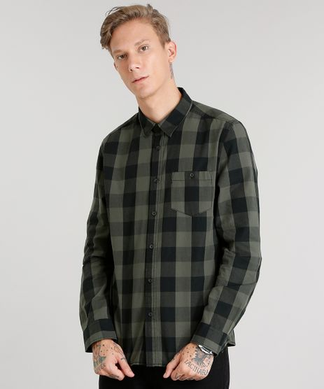 Camisa-Masculina-Xadrez-Manga-Longa-Verde-Militar-8448795-Verde_Militar_1