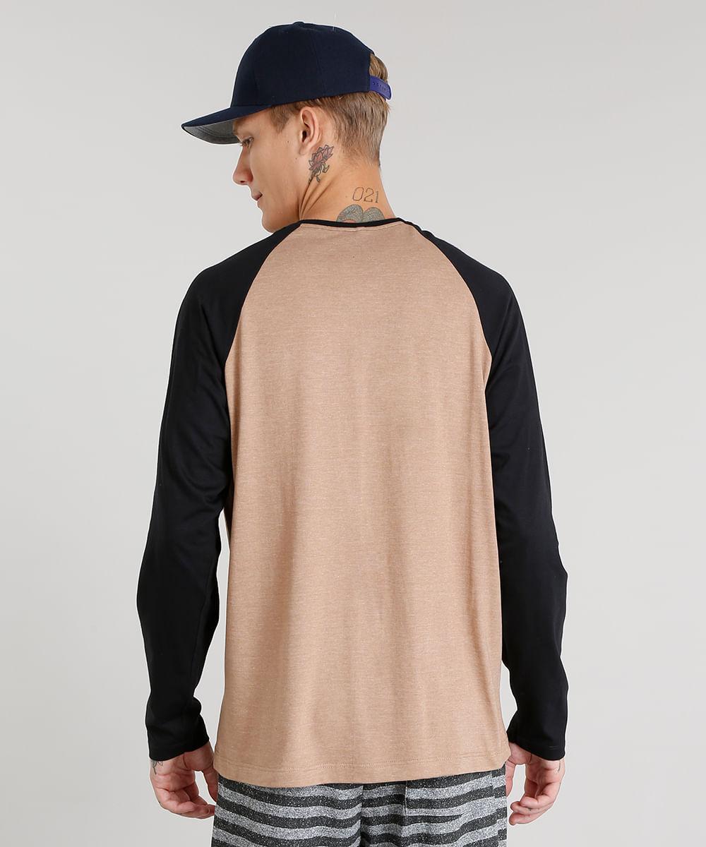 f3d99dfdd Camiseta Masculina com Bolso Manga Longa Raglan Gola Careca Cinza Mescla -  cea
