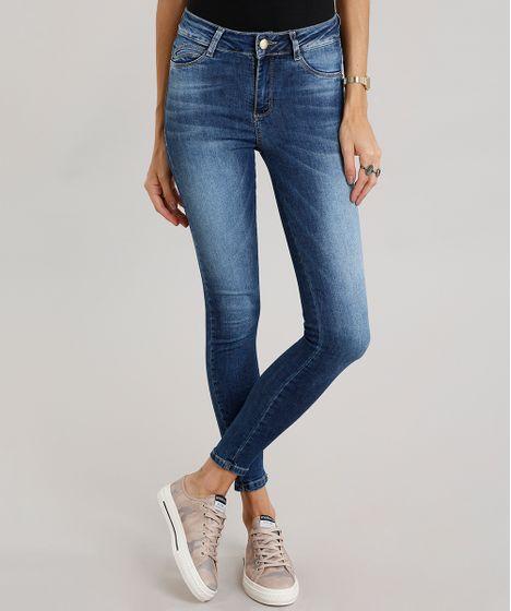 d6480d4ae3 Calça Jeans Feminina Super Skinny Sawary Azul Escuro - cea