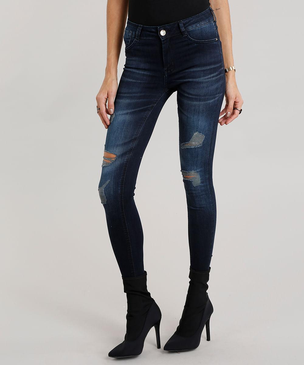 cc0ff00897 Calça Jeans Feminina Super Skinny Destroyed Sawary Estampada Azul ...