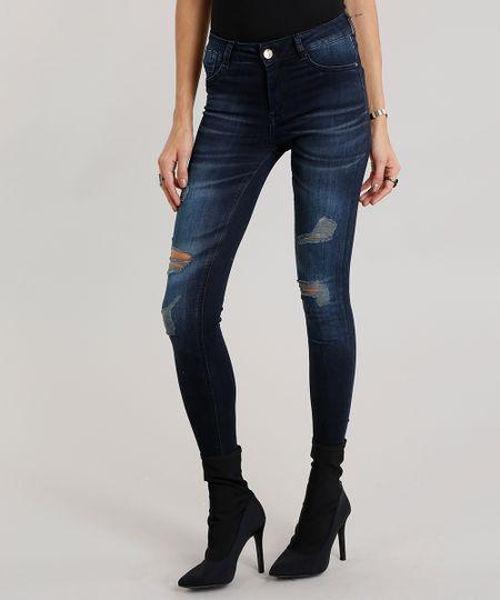 6ba8e2097 Calça Jeans Feminina Super Skinny Destroyed Sawary Estampada Azul Escuro -  ceacollections
