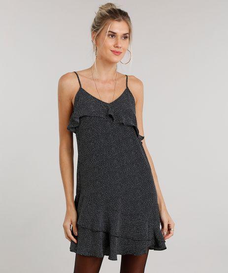 Vestido-Feminino-Estampado-de-Poa-Curto-de-Alca-com-Babados-Preto-8897457-Preto_1