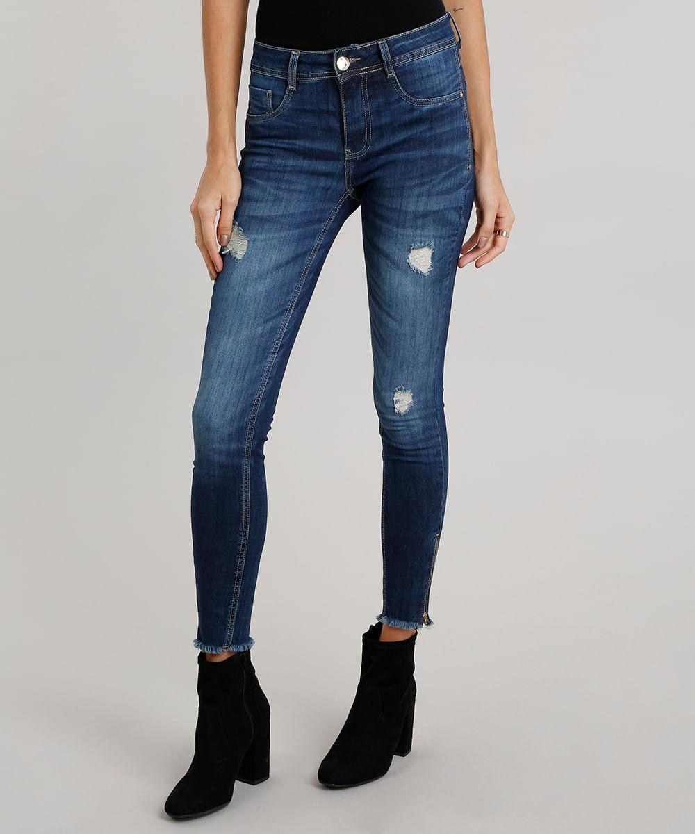 433233d57 Calça Jeans Feminina Super Skinny Sawary Destroyed Azul Escuro ...