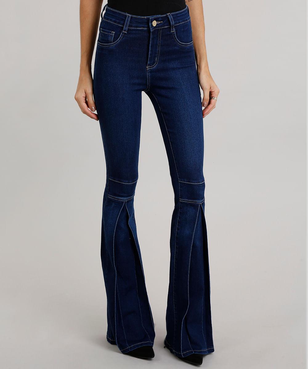 dfbaa9e68 Calça Jeans Feminina Flare Sawary com Pregas Azul Escuro ...