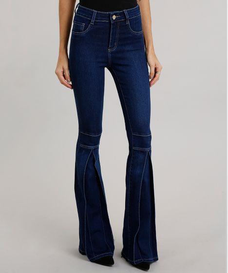 Calça Jeans Feminina Flare Sawary com Pregas Azul Escuro - cea 7869a4aec38