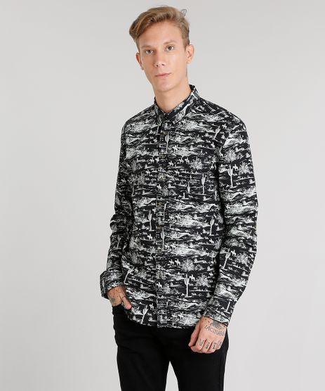 Camisa-Masculina-Estampada-Manga-Longa-Preta-8873886-Preto_1