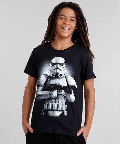 ef74637e19dcc Camiseta Infantil Stormtrooper Manga Curta Gola Careca Preta - cea